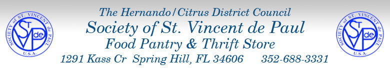 SVDP Hernando/Citrus District Food Pantry & Thrift Store